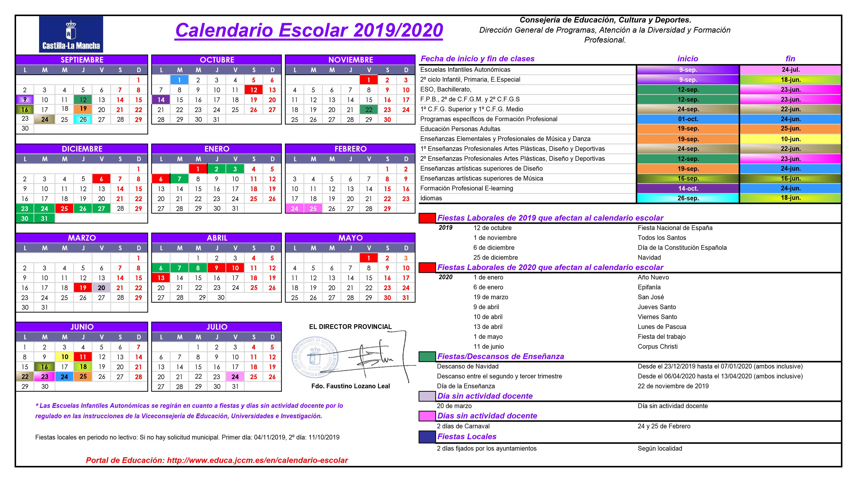 Calendario Escolar Valladolid 2020.Calendario Escolar 2019 2020